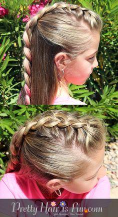 Pretty Hair is Fun: Half Up Mohawk Braid Hairstyle Girl Mohawk, Mohawk Braid, Princess Hairstyles, Girl Hairstyles, Braided Hairstyles, Five Strand Braids, Hair Plugs, Braid Tutorials, Pretty Braids
