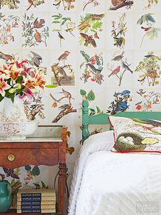 One flea-found illustrated Audubon book is all it takes to create an attention-grabbing wall worth tweeting about. Using either the original pages or color copies, hang by applying a premixed wallpaper paste to the back of each page with a roller. For the best results, place your first set of prints along the ceiling line and work down from there. Make sure each page is straight and sweep a wallpaper smoother over each print to take out any wrinkles before moving on to hang the next…