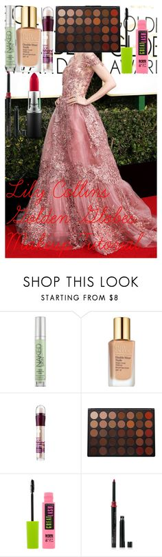 """Lily Collins Golden Globes Makeup Tutorial"" by oroartye-1 on Polyvore featuring beauty, Urban Decay, Estée Lauder, Maybelline, Morphe, Mary Kay and MAC Cosmetics"