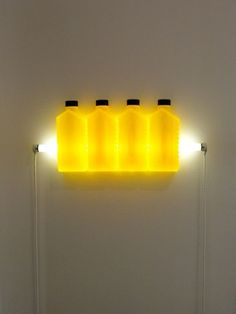 Bill Culbert, Four Yellow, 2010 Contemporary Artists, Wall Lights, Mindfulness, Club, Yellow, Home Decor, Appliques, Decoration Home, Room Decor