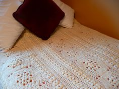 Hexagon Panel Afghan, free pattern. One comment was this pattern is a 'yarn hog' - no doubt from all those popcorn stitches.  Pic from Ravelry Project Gallery.  . . . .   ღTrish W ~ http://www.pinterest.com/trishw/  . . . .    #crochet #blanket #throw