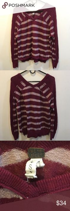 Free People Burgundy Striped Knit Sweater Top Beautiful free people Blouse with a Knit body and long sleeves that have a Netted Crochet like texture - in good used condition and is a size small! Free People Sweaters
