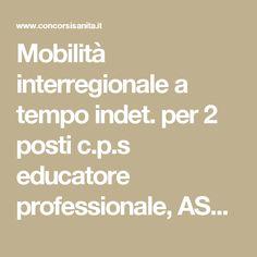 Mobilità interregionale a tempo indet. per 2 posti c.p.s educatore professionale, ASL Matera, scad. 27 dicembre