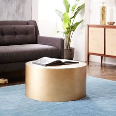 West Elm Metal Drum Coffee Table - probably need a round table for the living room after the sectional goes in