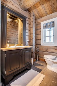 Nice Vanity and floor color. Wooden Barn, Wooden House, Floor Colors, Cozy Cabin, House In The Woods, Log Homes, Fixer Upper, Beautiful Homes, House Plans