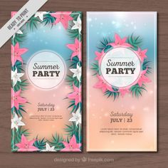 #Summer #Flyers that I have designed for #Freepik #shells #realisticdesign #Sand #Beach #Flowers #TropicalFlowers #PalmLeaves #Elegantdesign #GraphicDesign #Vector #FreeVector