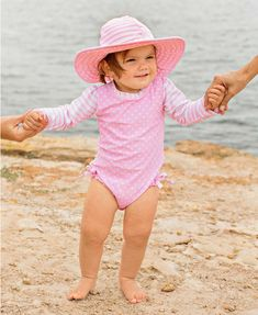 1092ed26c76d3 Pink Polka Dot One Piece Rash Guard - RuffleButts.com Pink polka dots and  back