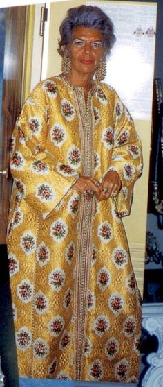 (much younger) Iris Apfel in a caftan