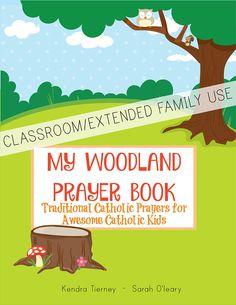 Traditional Catholic Prayers for Catholic Kids printable booklet Woodland theme
