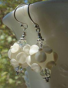 Floral Lampwork Earrings Handmade by KatesArtisanJewelry,