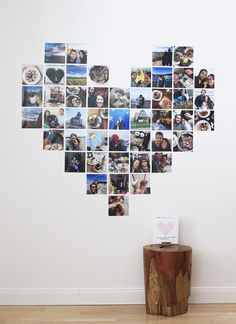 "Fun & oversized Valentine's Day ""card"": a heart made of photos from memorable dates and significant moments"