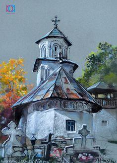 Mirela Hagiu - Biserica Sfinţii Voievozi, Horezu, 40 x 30 cm, pastel / crayon Pastel, Artwork, Painting, Cake, Work Of Art, Auguste Rodin Artwork, Painting Art, Artworks, Paintings