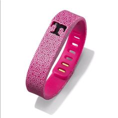 Tory Burch Fitbit Flex Silicone Pink Gold Bracelet Tory Burch for Fitbit Flex bracelet silicone printed fushia pink, white, and gold. Brand new no tag attached, never used or worn. Includes gold back attachment piece and is adjustable. Does not include Fitbit Flex activity tracker. Super cute, perfect workout motivation! Comes from smoke free and pet free home. Tory Burch Jewelry Bracelets