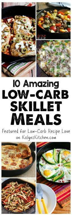 some amazing ideas here for meals that only need one skillet and all these tasty meals are also Keto, low-glycemic, and gluten-free and most can be South Beach Diet friendly. [featured for Low-Carb Recipe Love on KalynsKitchen Low Glycemic Diet, Low Carb Diet, Low Protein Diet, Low Carb Recipes, Diet Recipes, Healthy Recipes, Diabetic Recipes, Healthy Snacks, Cake Recipes