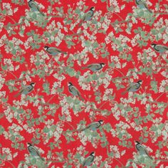 Emily Burningham Bird In Blossom Chinese Red Cotton Lawn