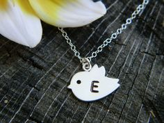 Bird Initial Necklace Flower Girl Gift Sterling by DanglingJewelry, $24.00...for E's first birthday?