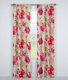 Watercolor blossoms on pure linen are artfully rendered to create a soft yet rich floral that frames your windows with a lovely garden year round. (Country Curtains Paint Palette Lined Rod Pocket Curtains. Available in Fuchsia and Mist.)