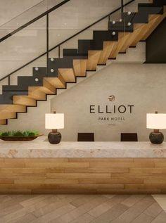 hotel lobby Elliot Park Hotel Minneapolis l - hotel Reception Desk Design, Lobby Reception, W Hotel, Park Hotel, Plywood Furniture, Minneapolis Hotels, Hotel Lobby Design, Country Hotel, Arquitetura