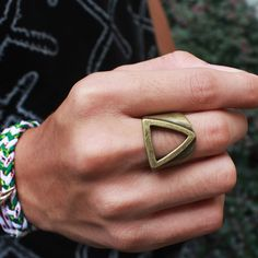 Unique Geometry Ring for Men Ancient Ring Super Cool Alien Rings Stainless Titanium Steel Rings For Guy Heavy Duty Punk Rock