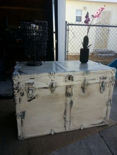 Finally finish restoring this vintage trunk for a client. Before the makeover, the exterior was cracking, hardware was broken, and the inside was smelly with old lining. It was a lot of work, but the outcome is so nice. Love how this shabby chic piece turned out.