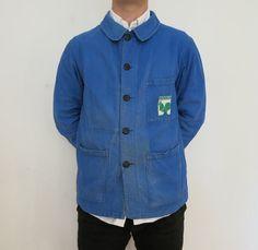 "French work jacket chest 36"" - 38"" bleu de travail chore artisan vintage 70s bill cunningham workman workwear rare unique laboureur MEDIUM"