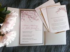 Japanese Cherry Blossom Wedding Invitation Pockets! By Copper Ink Wedding Design