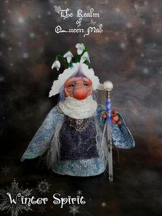 Forest Creatures .Winter spirit 1 #. Poseable doll. Art Doll. Troll, Faerie, Fae, Pixie, Brownie, Goblin, Ooak , Art Doll, One of a Kind, Fantasy, Sculpture, Wendy Froud, Brian Froud, Froud.