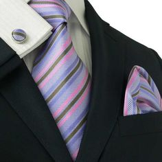 Purple, Pink and Brown Stripe Necktie Set JPM13E