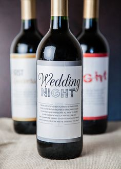 Give the bride and groom a special set of milestone labels on wine to mark the memorable times in their new lives together. Wedding Wine Labels, Wedding Favors, Diy Wedding, Wedding Gifts, Pagan Wedding, Wedding Poems, Wine Bottle Labels, Wine Bottles, Engagement Party Gifts