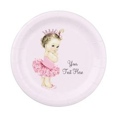 Princess Tutu Baby Shower Paper Plate