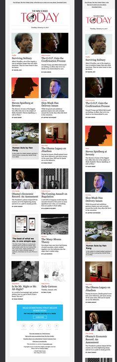 Newsletter responsive du New Yorker. Simple et efficace. L'ominprésence du format 2 colonnes entraîne une certaine monotonie. Newsletter Responsive, Responsive Email, Email Design Inspiration, Simple