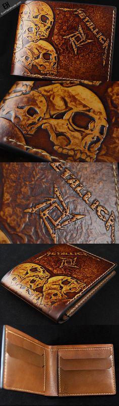 Handcraft custom Thrash Metal Metallica carved leather short wallet fo | EverHandmade