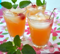 Blushing Apple Juleps! These drinks are so good. My kids and I love to sit on our porch and sip on this delicious drink! Try them and see for yourself :)