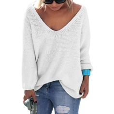 Womens Knit Sweaters and Pullovers Long Sleeve Autumn Winter Sweater V Neck Loose Casual Tops