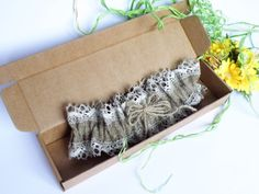 Wedding Bridal Garter Rustic Country style from Burlap linen and linen lace on Etsy, $25.00