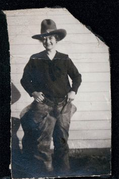 vintage photo Cowgirl hat and Chaps by maclancy on Etsy