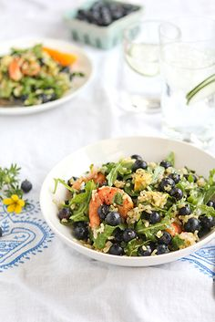 Spicy Shrimp Arugula Salad w/ Blueberries