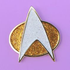 """1.25"""". Soft enamel, rubber backing. Gold and white glitter. Where no one  has gone before. #myfavpin"""