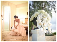 Blush bridal gown; white orchid altar flowers for a destination wedding in Grand Cayman