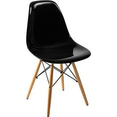 Cadeira Side Base Madeira Preto Sólido - By Haus