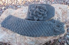Pewter gray and metallic blue hand-knitted scarf by susansworld