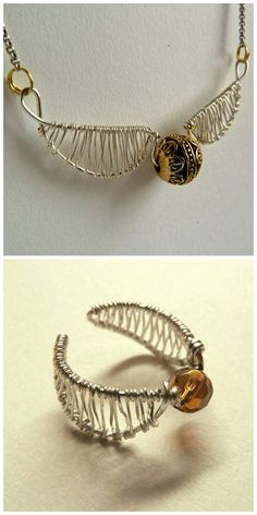 DIY Harry Potter Golden Snitch Jewelry.If you've never crafted with wire before, these jewelry pieces may take practice. The good thing is that wire is CHEAP and you can make mistakes. • DIY Golden Snitch Ring Tutorial by emilyvanleemput for...