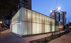 La Jota Cultural Center by Gbang.  Galvanized steel #MetalPanels.  #Glass #NightTime