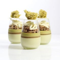 Pistachio mousse white peach gelee pistachio cremeux streusel mascarpone cheese cream pistachio sponge Verrine for my class at Desserts In A Glass, Gourmet Desserts, Fancy Desserts, Just Desserts, Delicious Desserts, Dessert Recipes, Baking And Pastry, Pastry Chef, Dessert Shooters