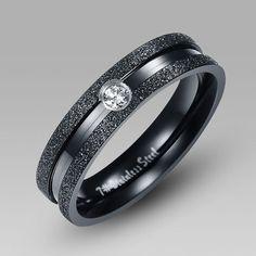 Simple Black Titanium Steel Men's Wedding Band Wedding Ring with Crystal Vancaro