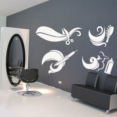 Cheap scissor stand, Buy Quality decals store directly from China scissors solingen Suppliers: Wall Decal Hair Hairstyle Salon Scissors Brush Curling Curl Beauty Work Wall Stickers Murals, Wall Decal Sticker, Home Salon, Salon Design, Barber Shop, Curls, Salon Decorating, Decorating Ideas, Stylists