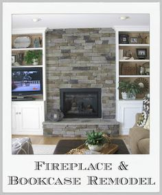 I want bookcases around my fireplace. And the TV mounted over the fireplace. Driven By Décor: Fireplace Remodel
