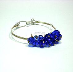 Cobalt Blue Cha-Cha Style Bracelet//Wire Wrapped Cha-Cha Bracelet