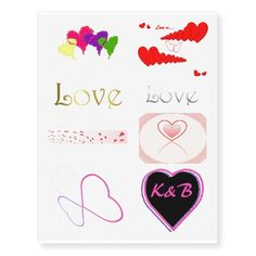 Girly Love Heart Valentine Temporary Tattoos
