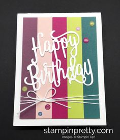Stampin Up Happy Birthday Thinlit Die Card Idea - Mary Fish StampinUp